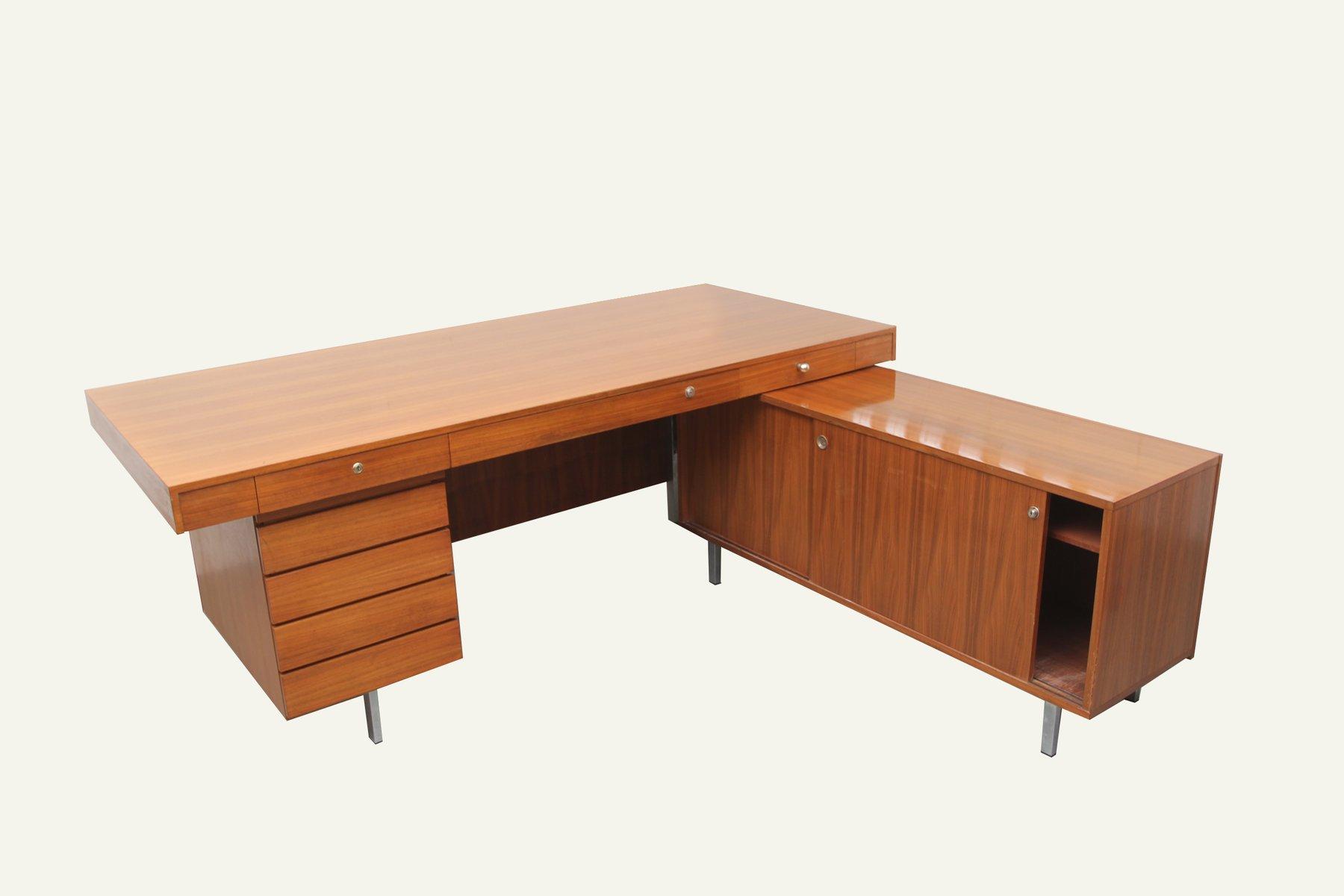 deutscher nussholz schreibtisch mit schrank bei pamono kaufen. Black Bedroom Furniture Sets. Home Design Ideas