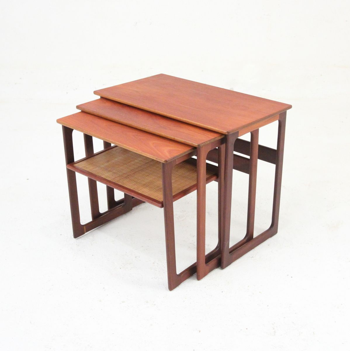 Amazing photo of Nesting Tables by Johannes Andersen for CFC Silkeborg 1950 for sale  with #9D462E color and 1198x1200 pixels