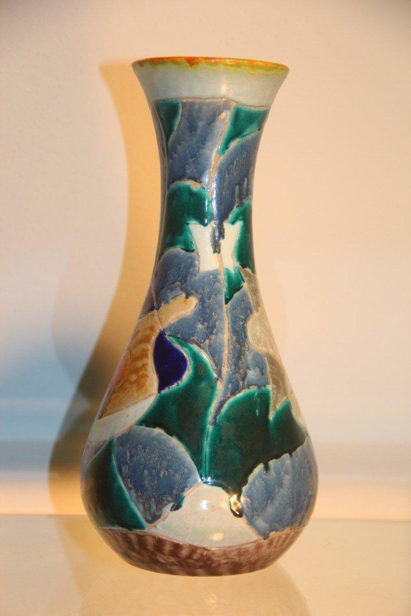 tibetan decor vase by giuseppe mazzotti albisola 1950 for. Black Bedroom Furniture Sets. Home Design Ideas