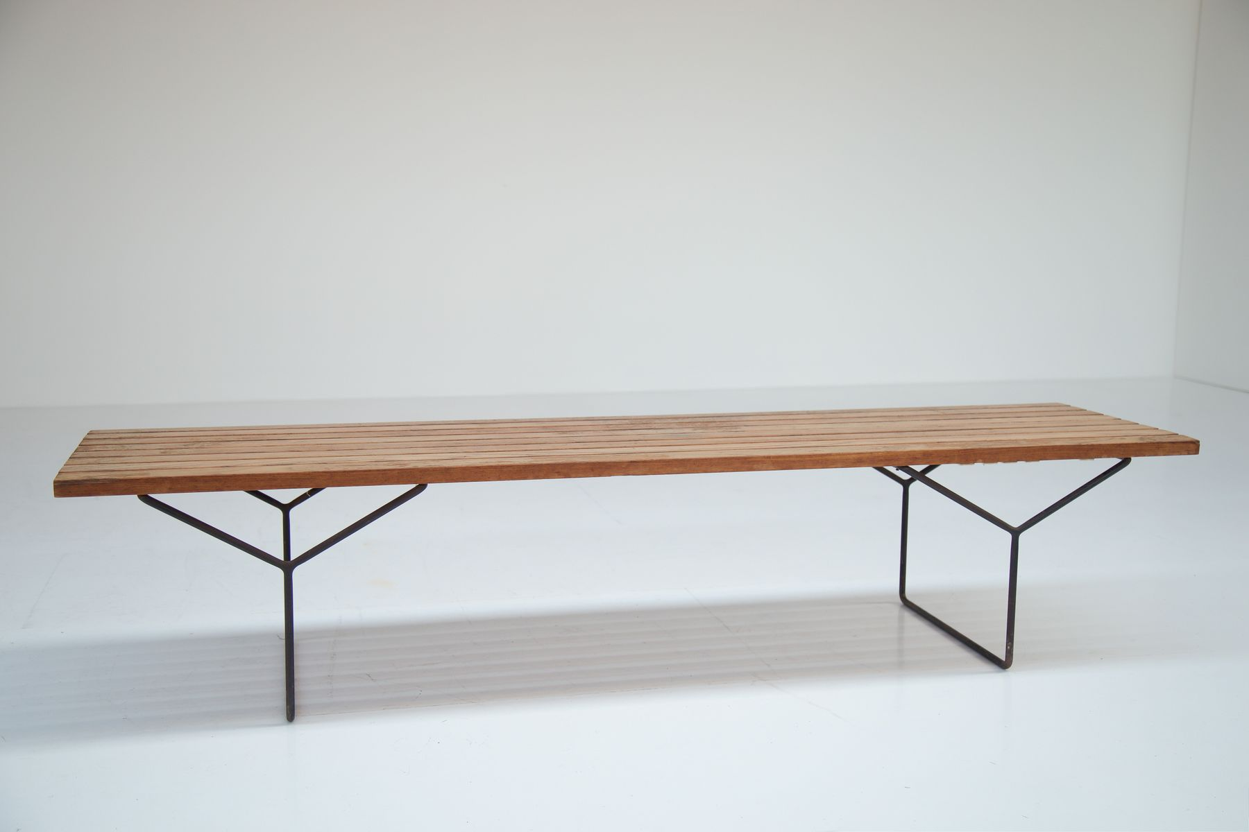 Mid Century Slat Bench By Harry Bertoia For Knoll For Sale At Pamono