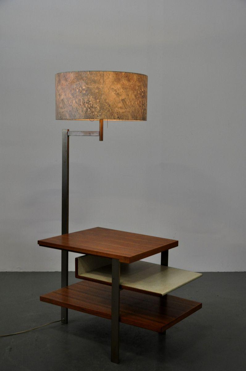 teak metall beistelltisch mit integrierter lampe 1960er bei pamono kaufen. Black Bedroom Furniture Sets. Home Design Ideas