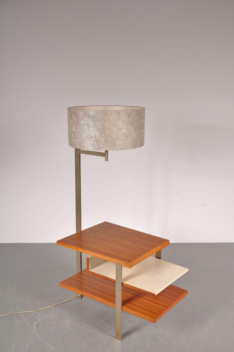 Teak metall beistelltisch mit integrierter lampe 1960er for Metall beistelltisch