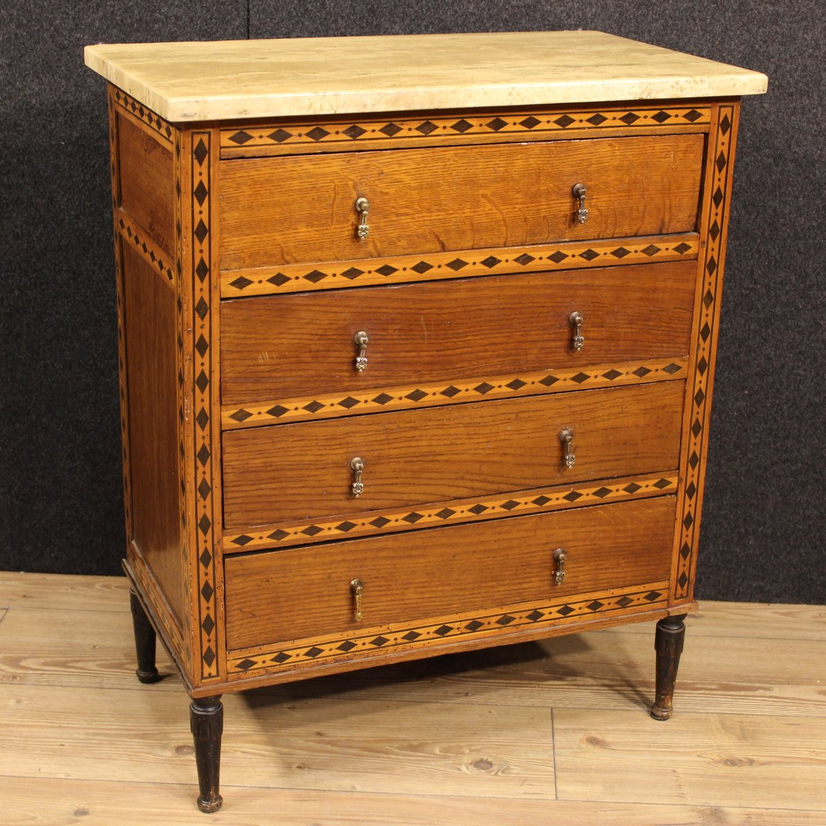 antique french inlaid commode with marble top for sale at pamono. Black Bedroom Furniture Sets. Home Design Ideas