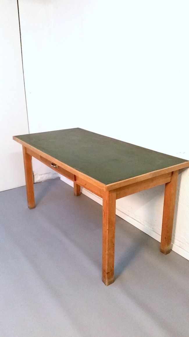 wooden table with green linoleum top and drawer 1950s for sale at pamono. Black Bedroom Furniture Sets. Home Design Ideas
