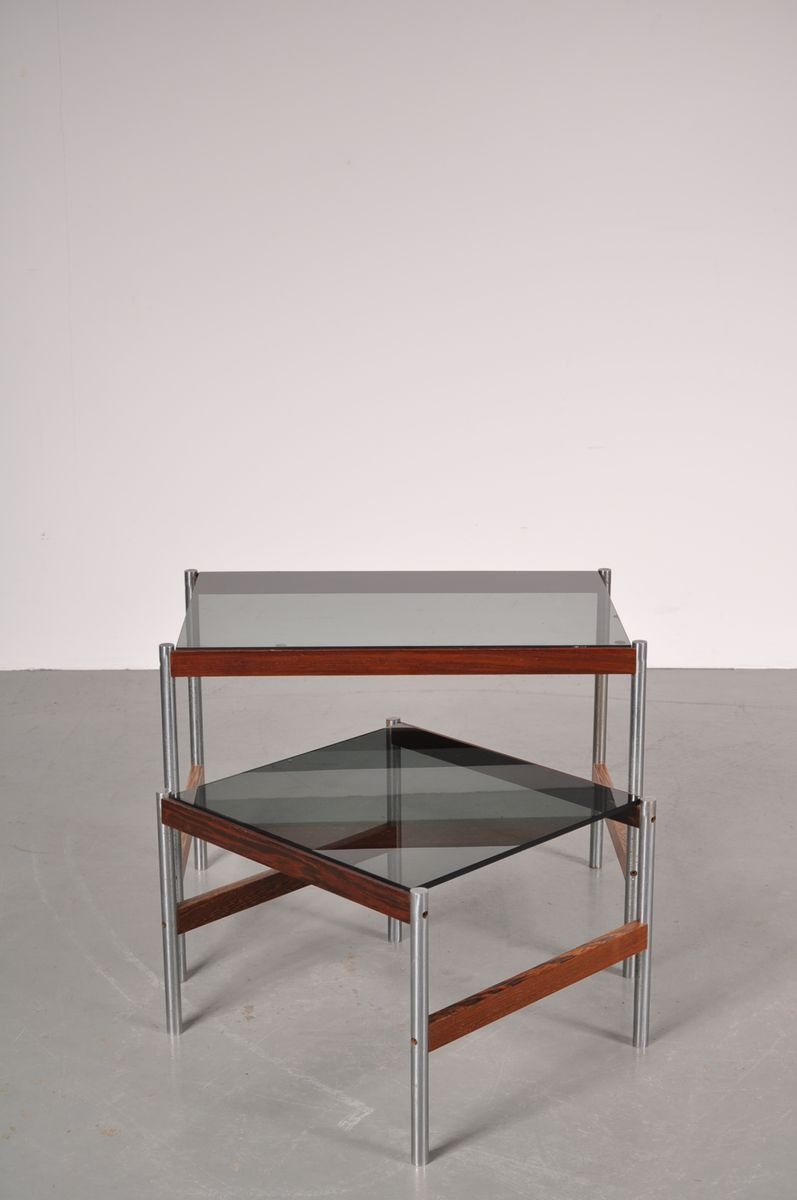 Chrome and wenge nesting tables with smoked glass top from for Glass top nesting tables