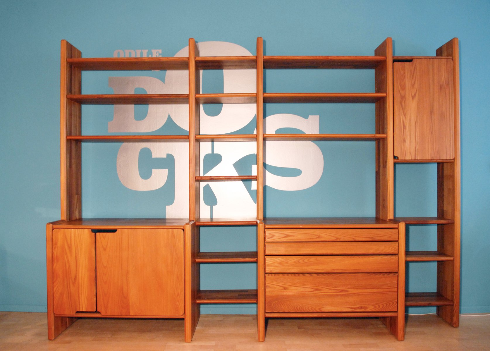 French Elm Library Unit from Pierre Chapo, 1980s for sale at Pamono