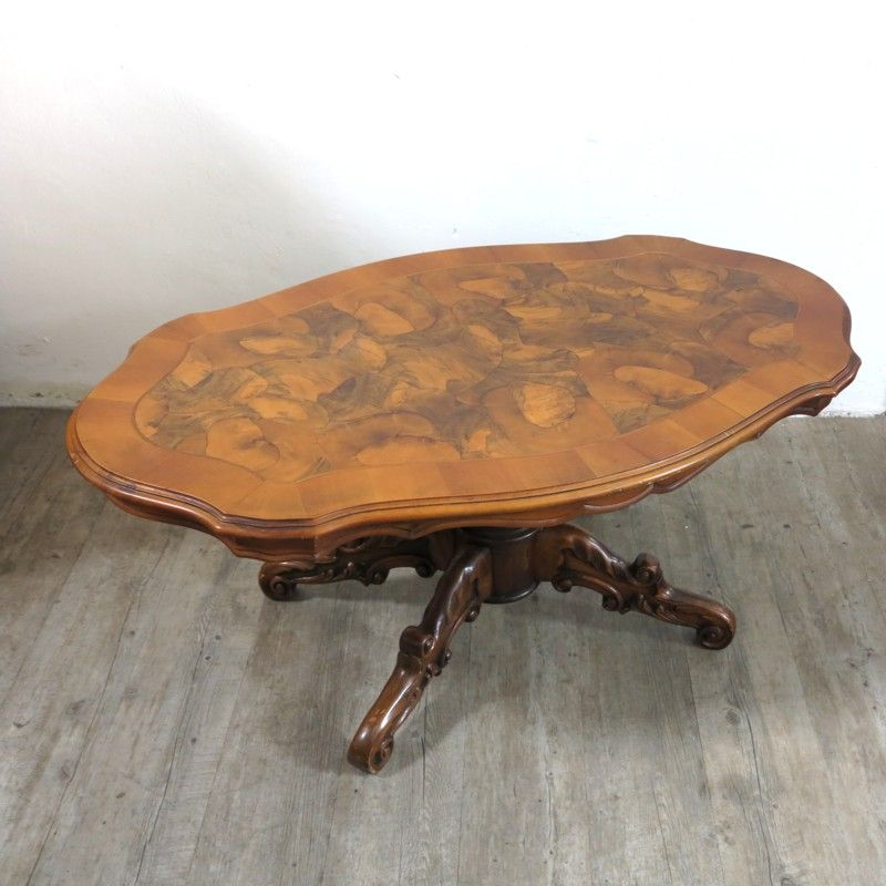 Antique German Carved Burl Coffee Table For Sale At Pamono
