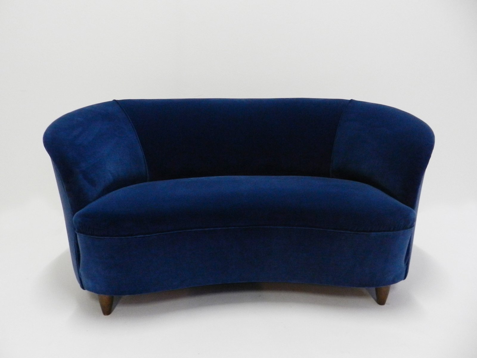 Italian Mid Century Blue Velvet Curved Loveseat For Sale