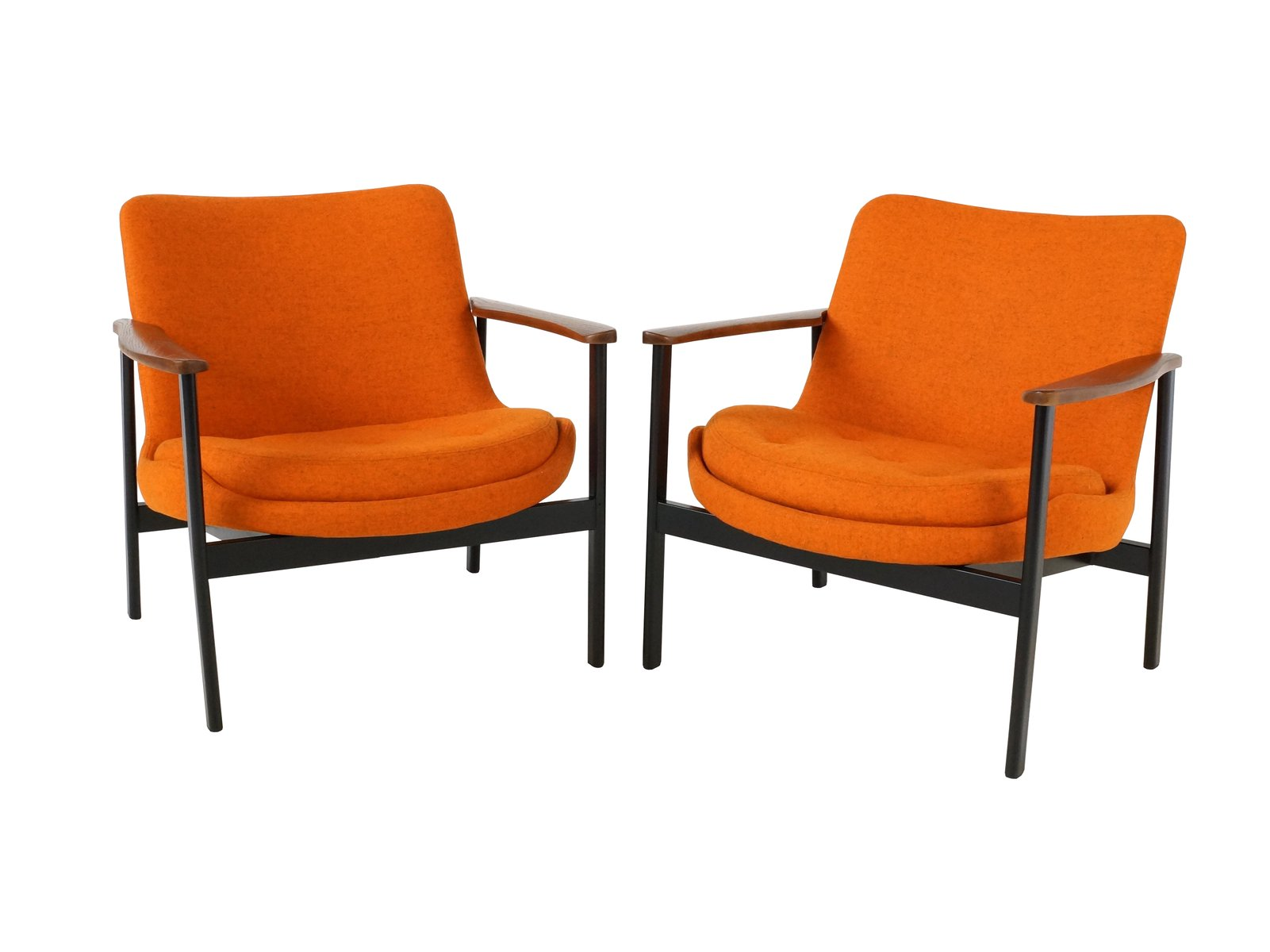Orange Mid-Century Armchairs, 1950s, Set of 2 for sale at ...