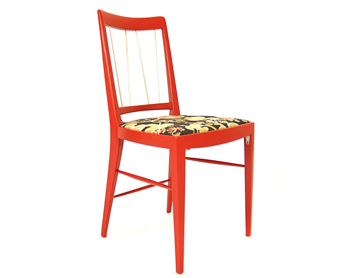 Red dining chair by oswald haerdtl for thonet 1953 for for Red dining chairs for sale