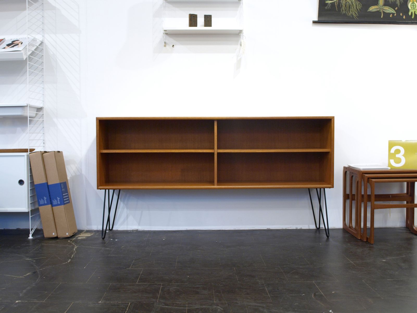 mid century teak shelves with hairpin legs from wk m bel for sale at pamono. Black Bedroom Furniture Sets. Home Design Ideas
