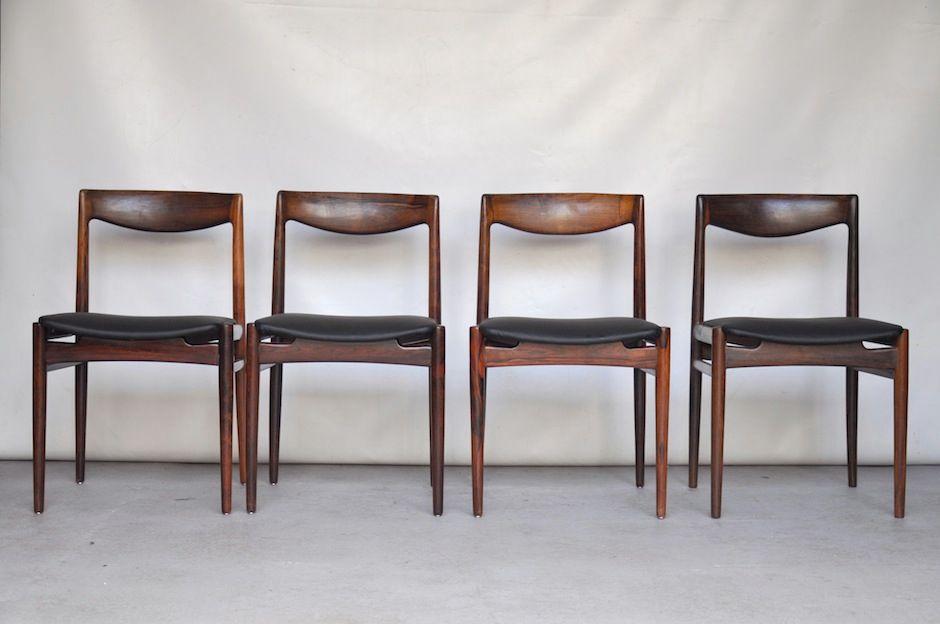 d nische st hle aus palisander vinyl 4er set bei pamono kaufen. Black Bedroom Furniture Sets. Home Design Ideas