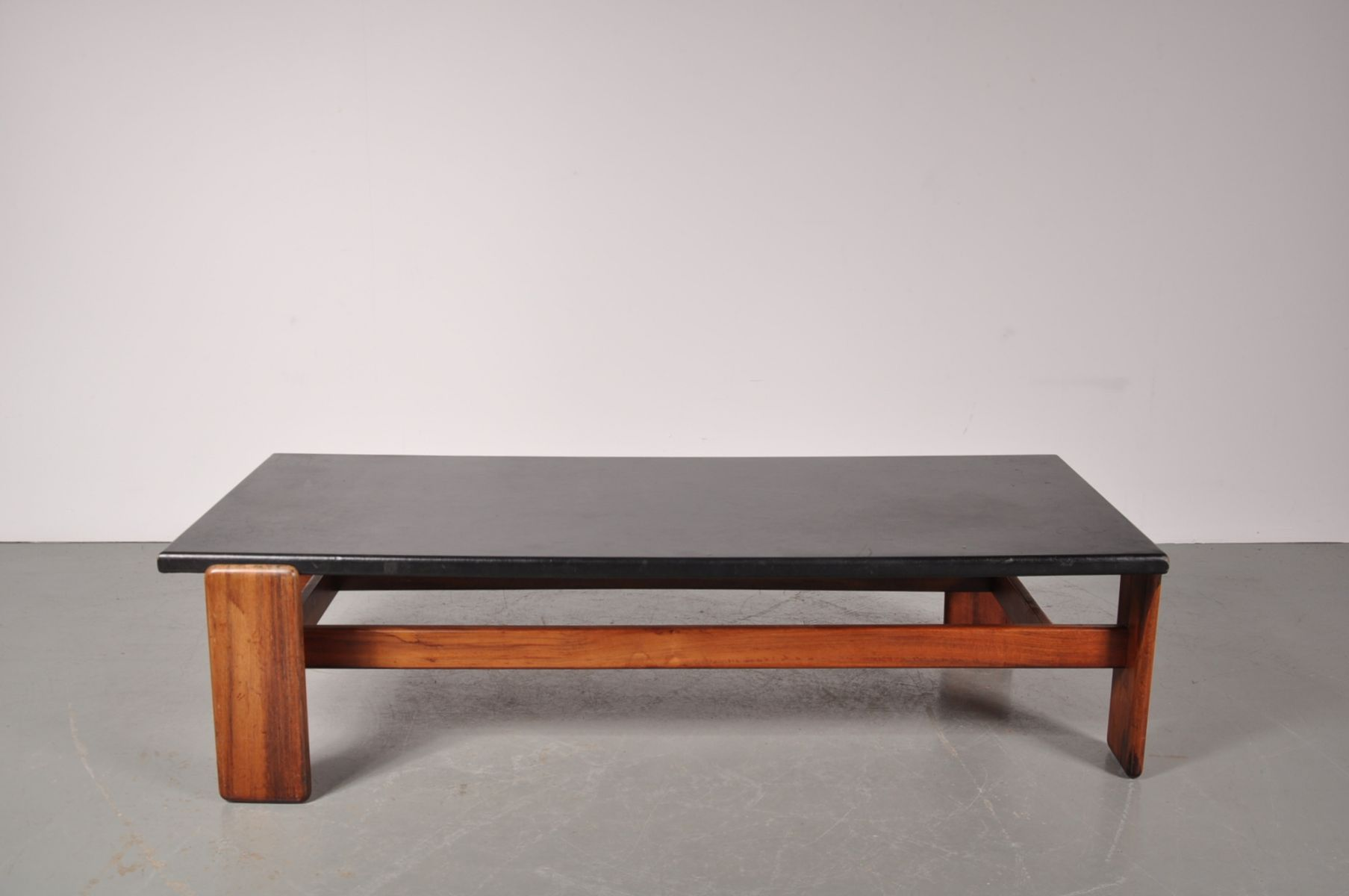 Rectangular Coffee Table With Black Leather Top 1960s For Sale At Pamono