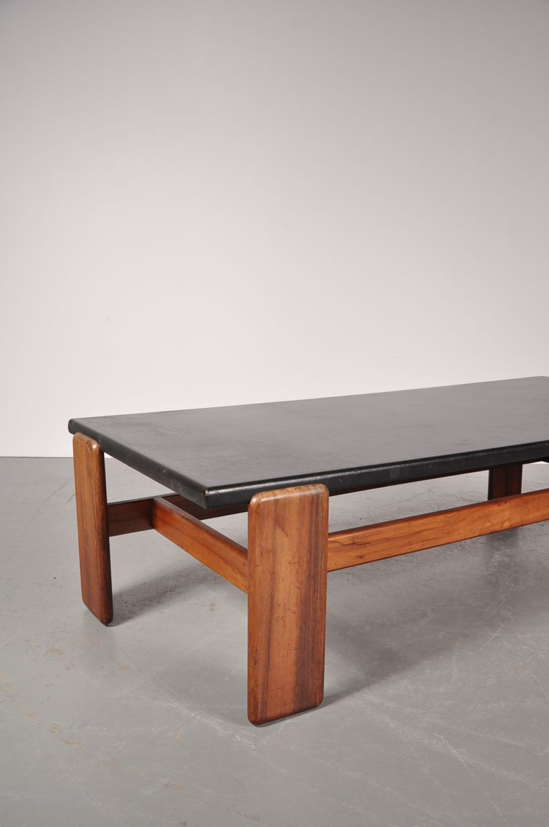 Rectangular coffee table with black leather top 1960s for sale at pamono Square leather coffee table