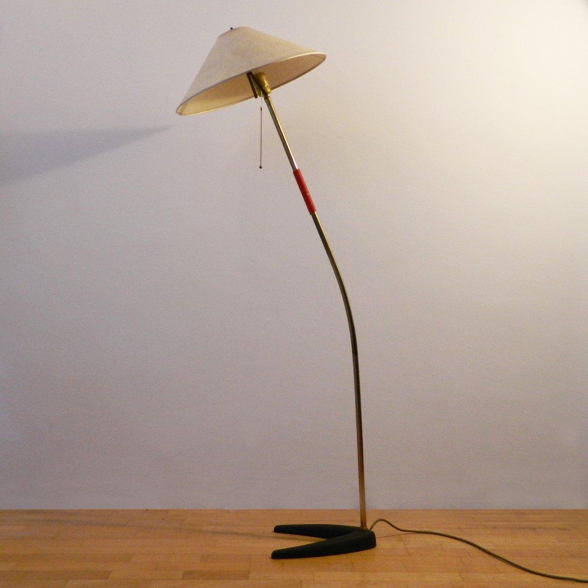 Brass And Cast Iron Floor Lamp By J.T. Kalmar For Kalmar