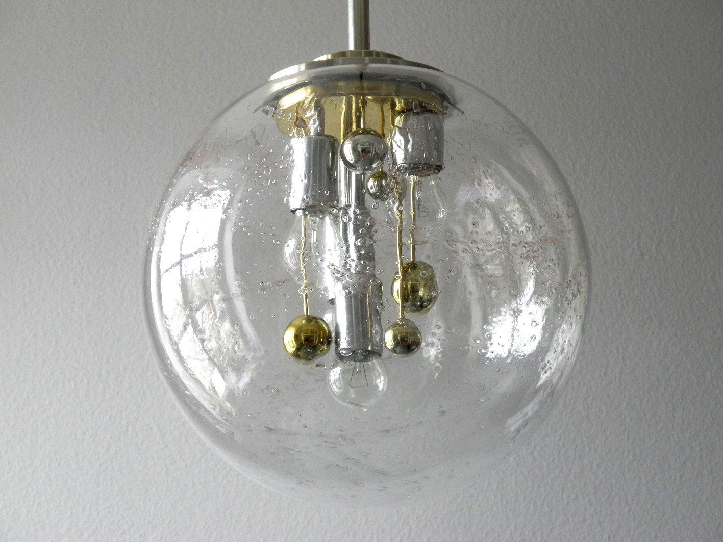 Lampe suspension doria avec boule en verre en vente sur for Lampe boule suspension
