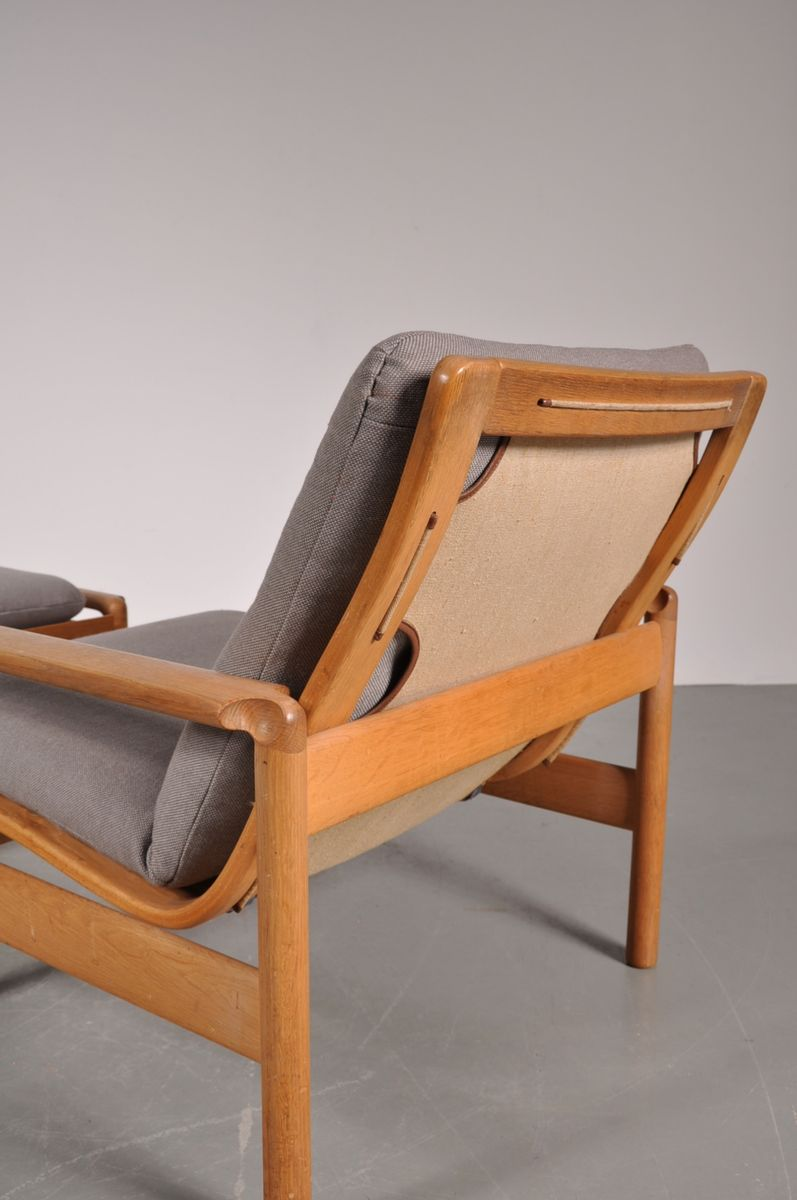 Danish Oak Easy Chair And Adjustable Foot Stool From Ms Mobler Set Of 2 For Sale At Pamono