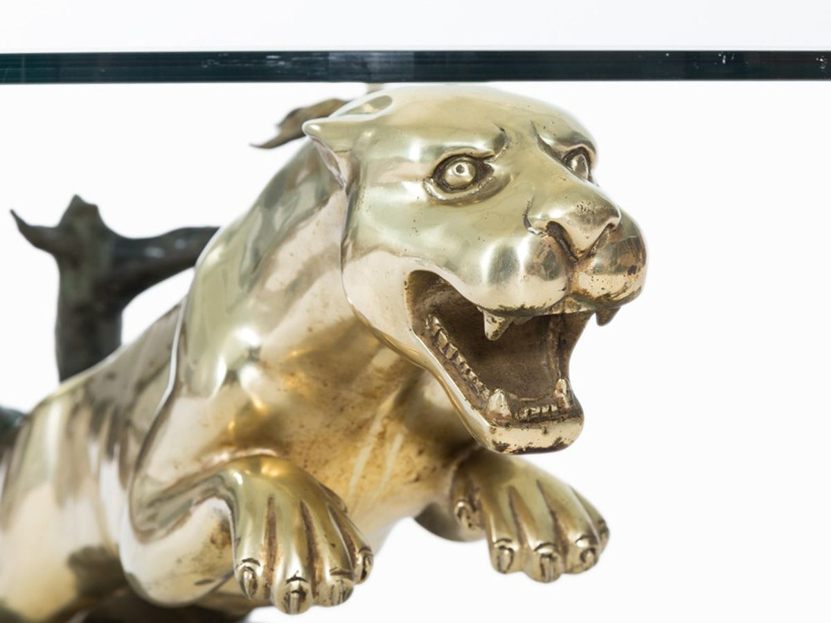 brass panther coffee table, 1970s for sale at pamono