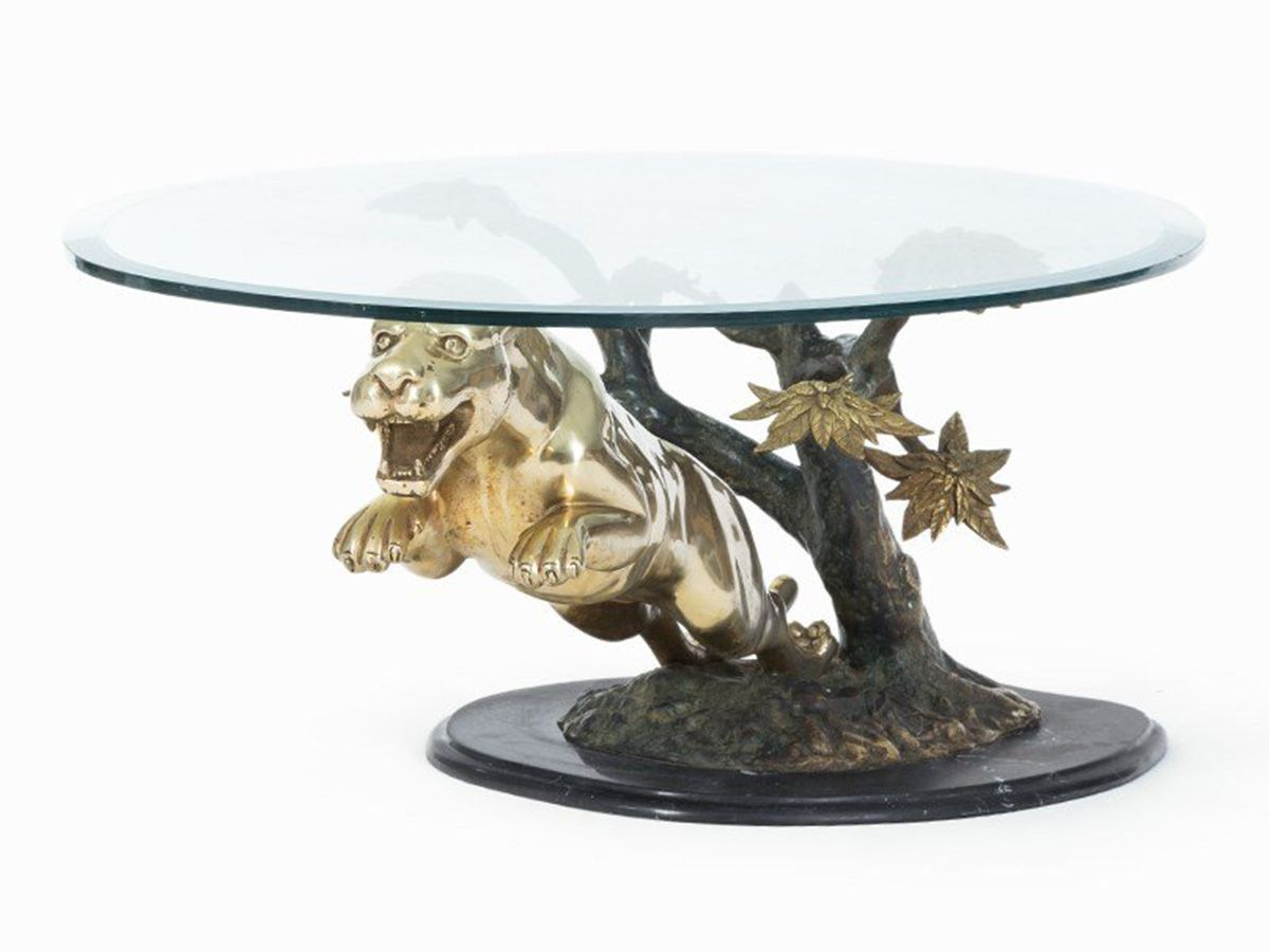 Brass panther coffee table 1970s for sale at pamono brass panther coffee table 1970s geotapseo Gallery