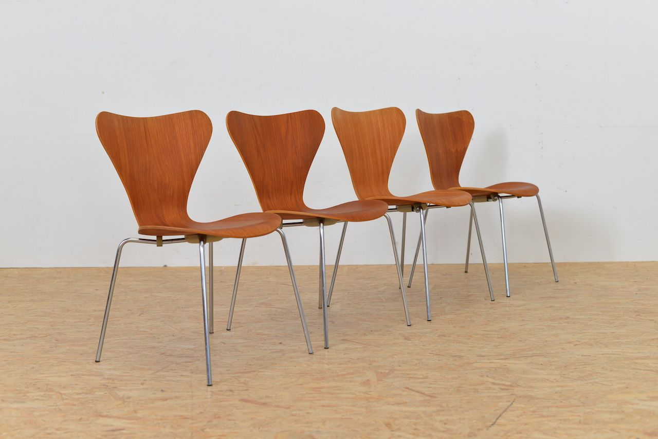 mid century danish model 3107 teak side chair by fritz hansen for sale