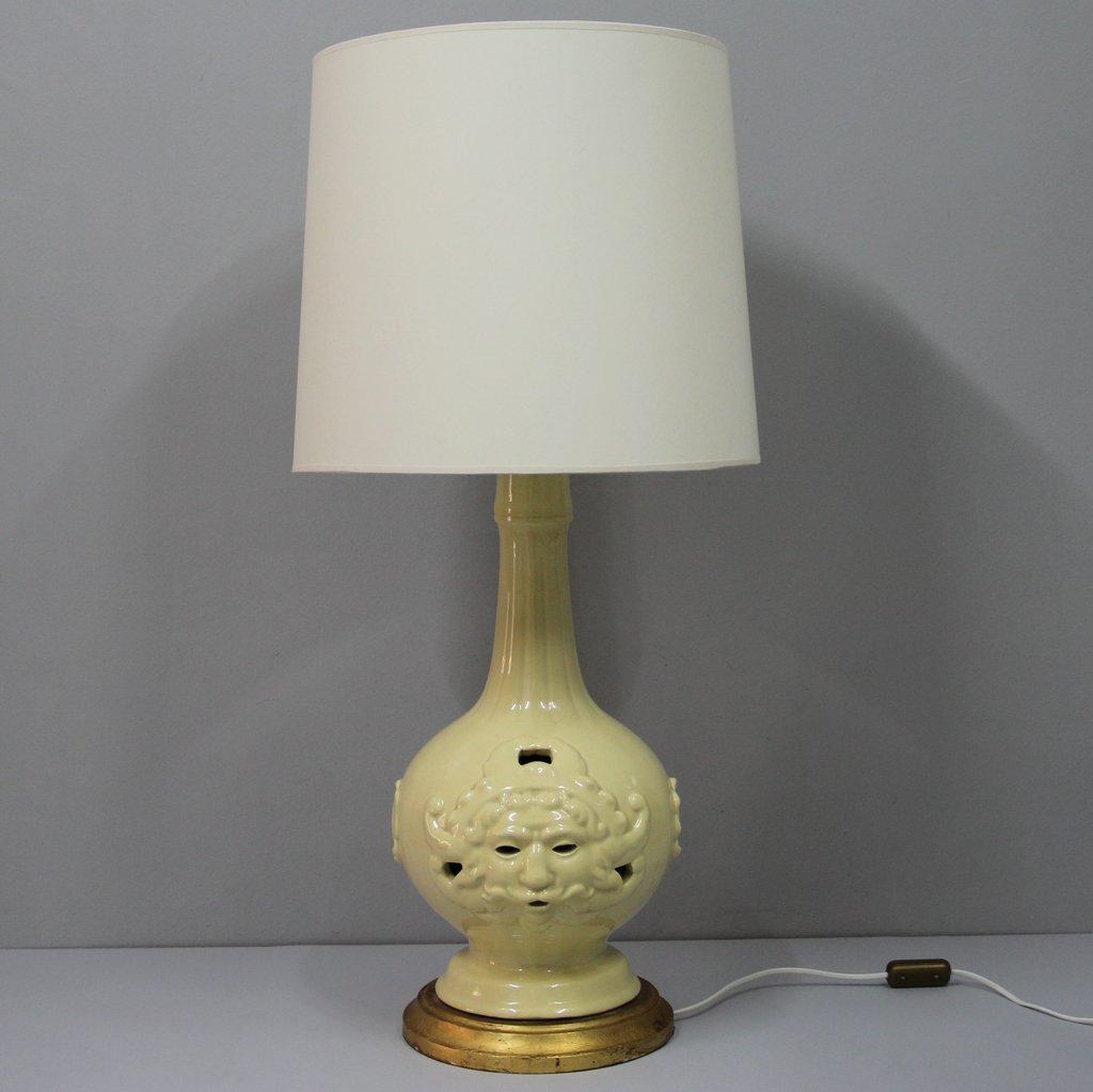 Large Vintage Spanish Ceramic Of Manises Table Lamp