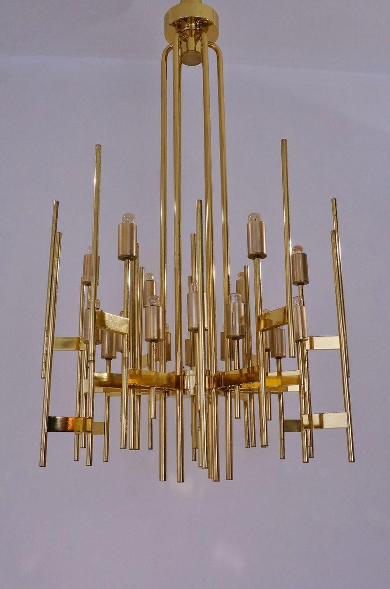 Large Vintage 18Light Italian Brass Chandelier by Gaetano – Large Brass Chandelier