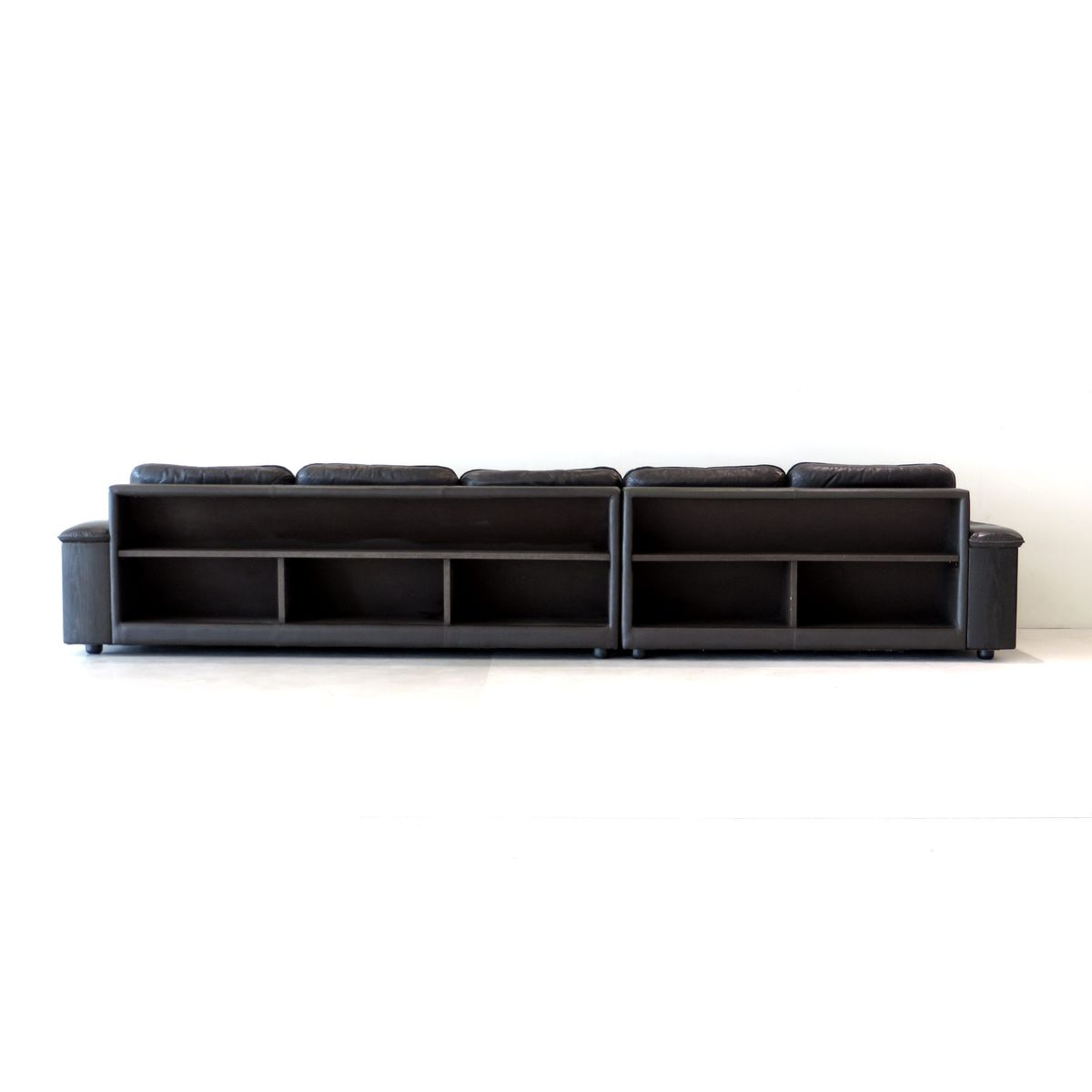 5 Seater Leather Sofa with Built In Bookcase and Ottoman