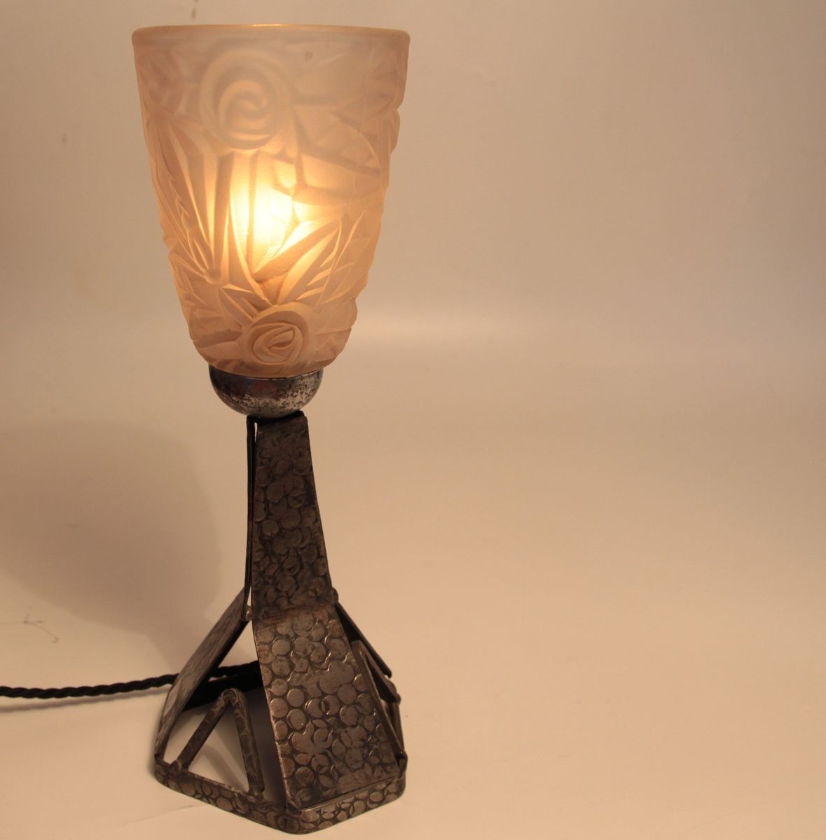 French Wrought Iron Art Deco Table Lamp
