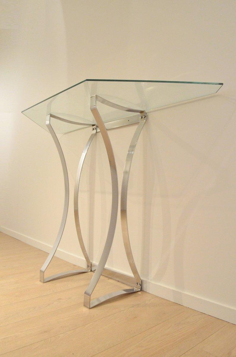 minimalistischer konsolentisch aus chrom glas 1970er bei pamono kaufen. Black Bedroom Furniture Sets. Home Design Ideas