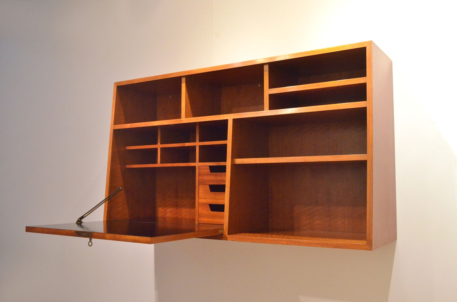 Mid Century French Wall Cabinet With Desk For Sale At Pamono