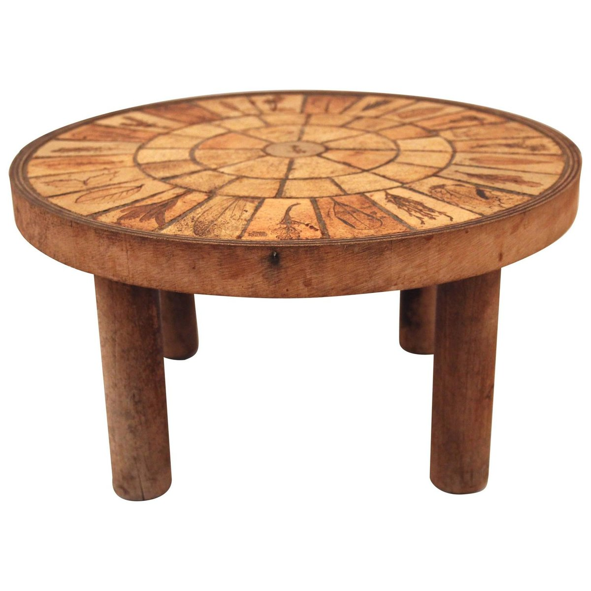 French Wood Coffee Table: French Ceramic & Wooden Coffee Table By Roger Capron