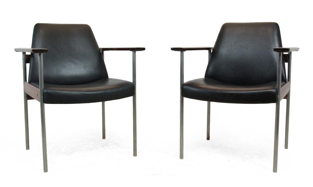 armlehnst hle aus palisander leder von dokka 1960er. Black Bedroom Furniture Sets. Home Design Ideas