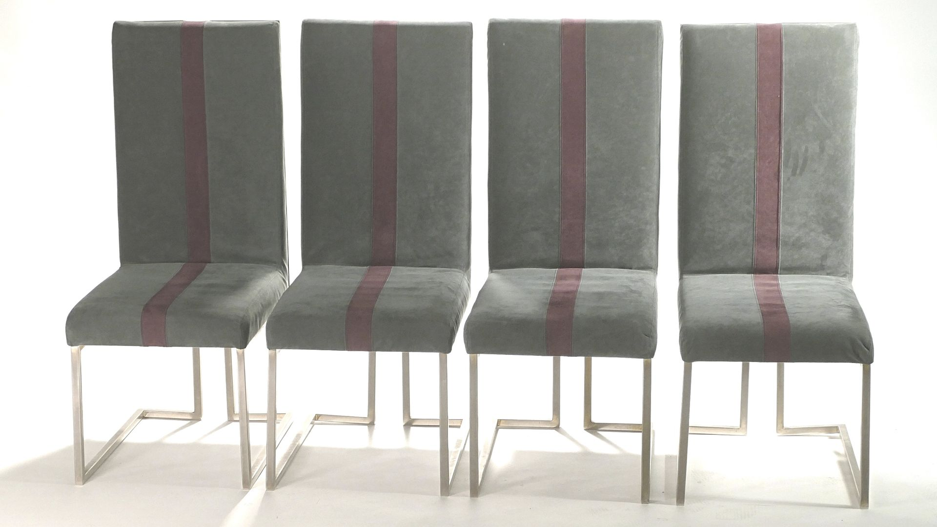 Brushed Metal Chairs By Guy Lefevre For Maison Jansen 1970s, Set Of 4