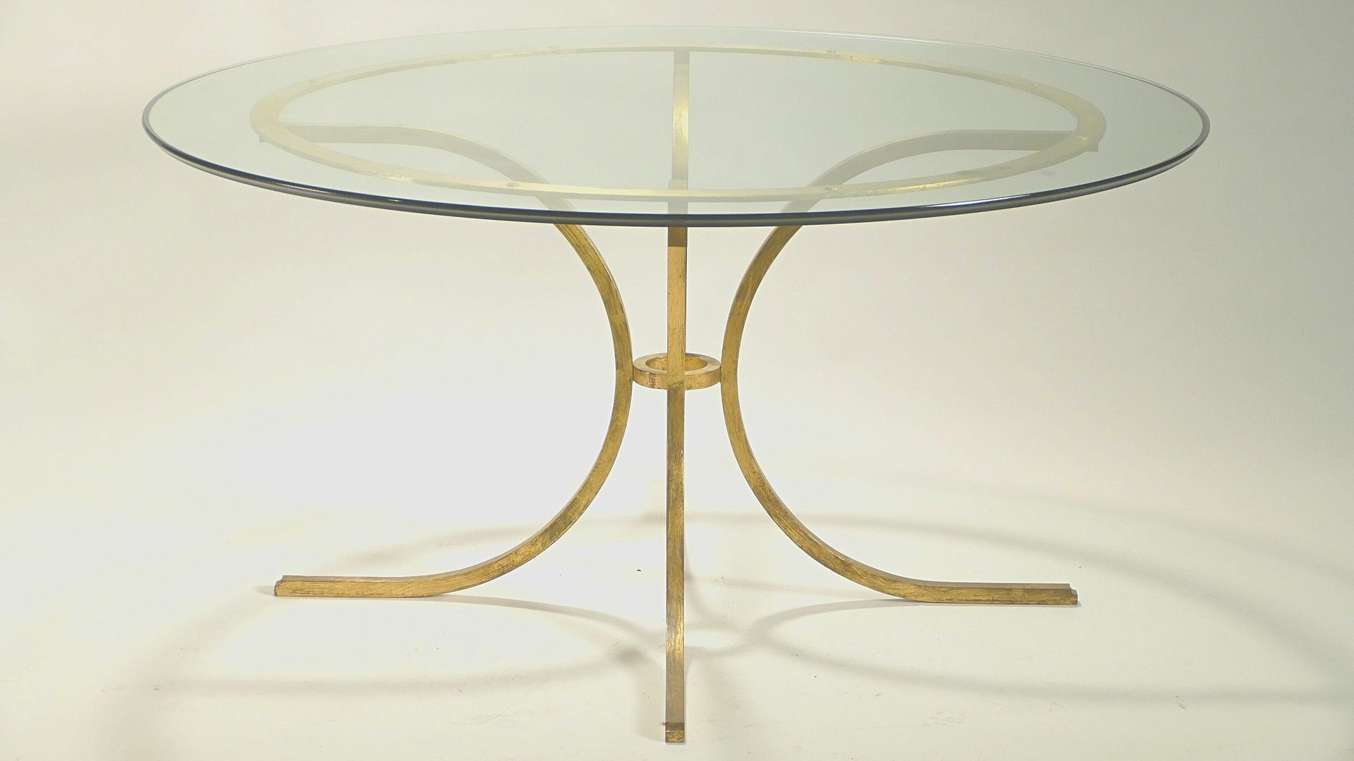 Large Glass Dining Table by Robert Thibier for sale at Pamono
