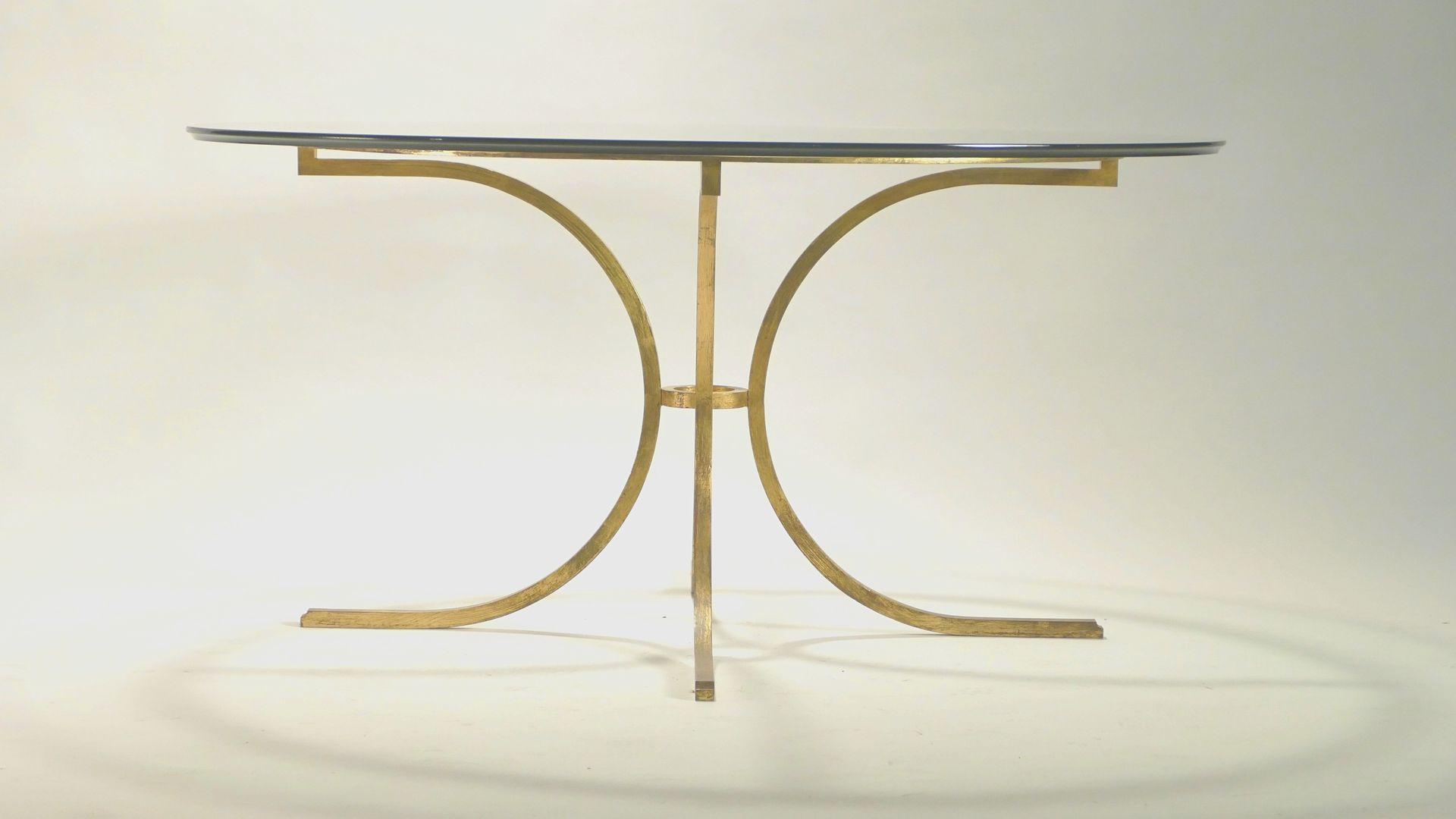 gro er glas esstisch von robert thibier bei pamono kaufen. Black Bedroom Furniture Sets. Home Design Ideas