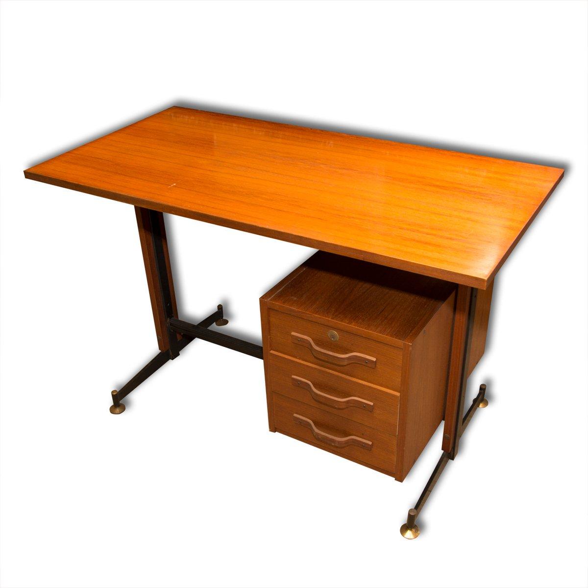 italienischer mid century teak schreibtisch 1950er bei. Black Bedroom Furniture Sets. Home Design Ideas