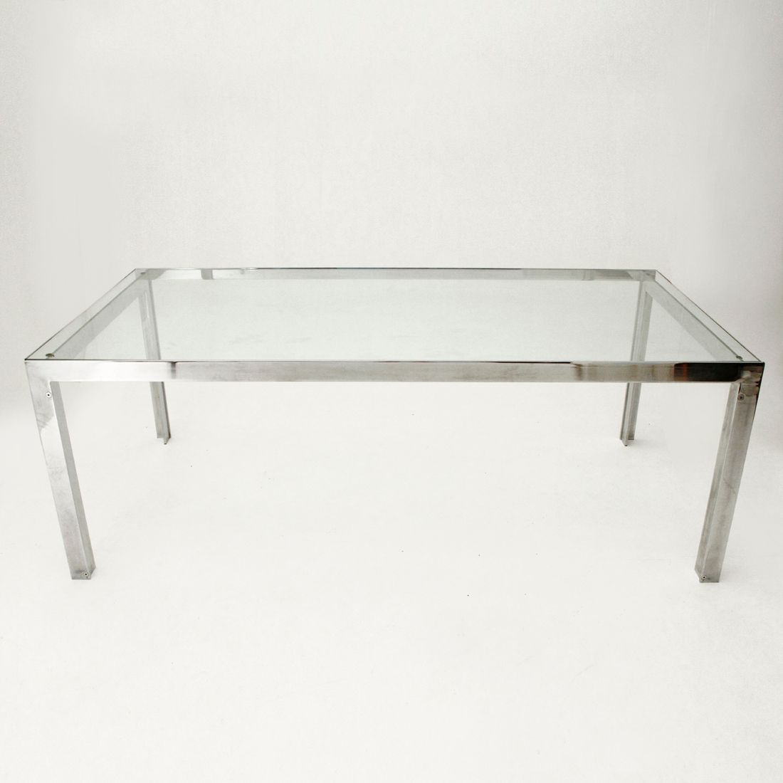 Vintage Italian Gl And Chrome Dining Table 1970s For At
