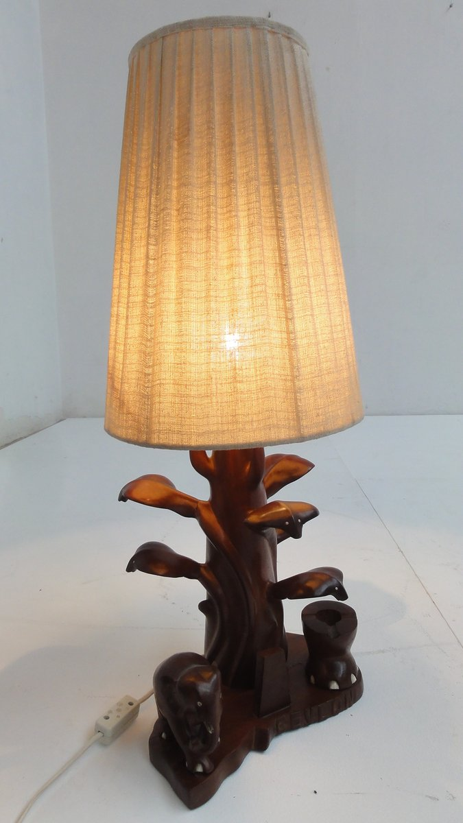 Stacked elephant lamp - Hand Carved Table Lamp With Cobra Elephants From Ceylon 1950s For Sale At Pamono