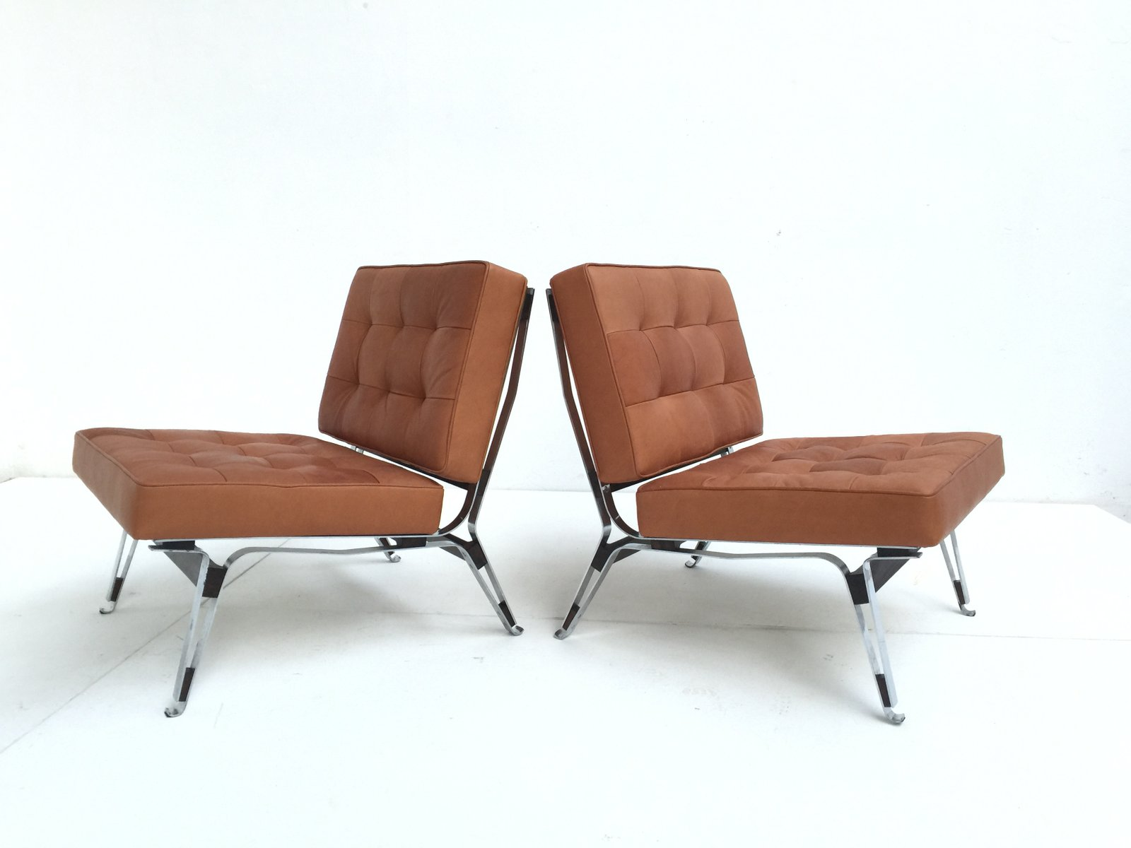 856 Leather Lounge Chairs by Ico Parisi for Cassina 1957 Set of