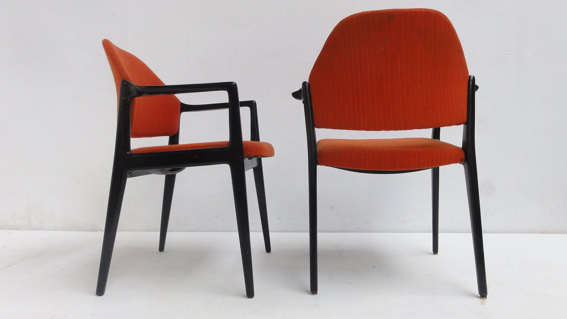 Orange Dining Chairs From WIlkhahn 1950s Set Of 2 For