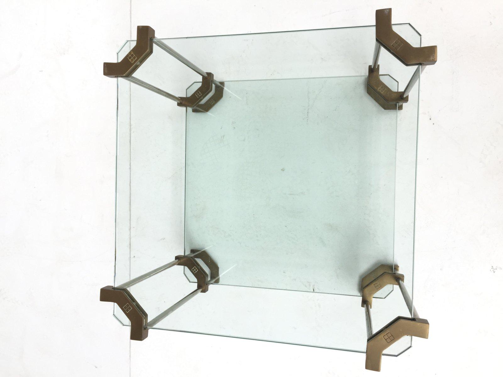 glas messing beistelltisch 1970er bei pamono kaufen. Black Bedroom Furniture Sets. Home Design Ideas