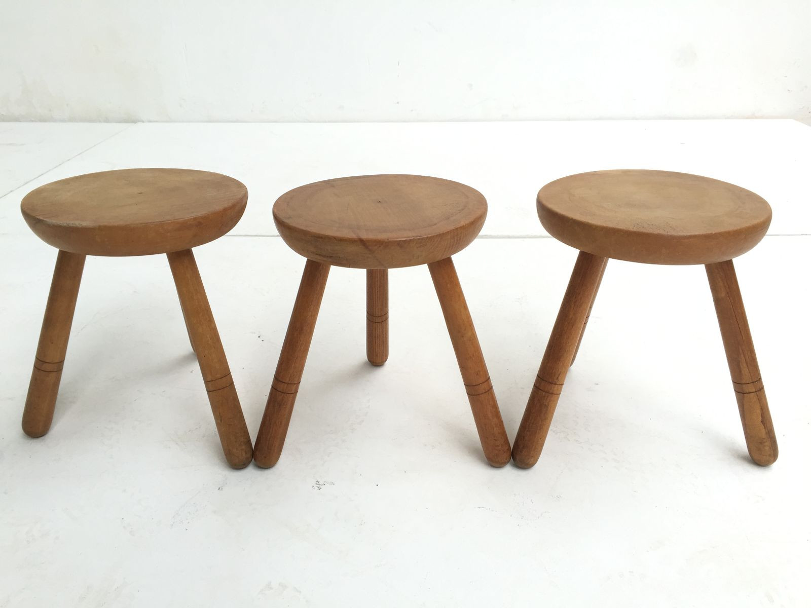 Superb img of Vintage Birch Wood Stools 1970s Set of 3 for sale at Pamono with #71492D color and 1600x1200 pixels