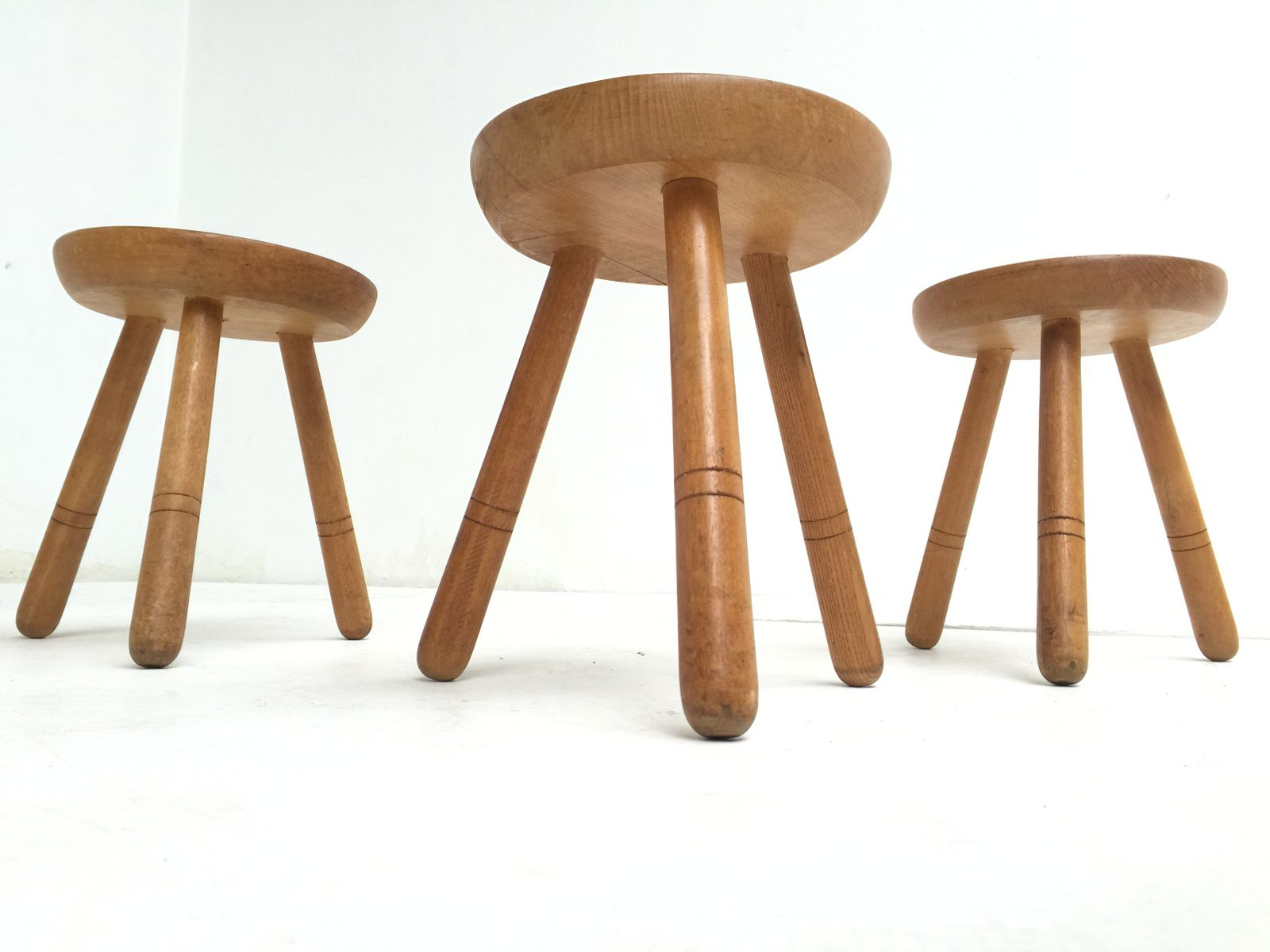 Superb img of Vintage Birch Wood Stools 1970s Set of 3 for sale at Pamono with #7B4D2D color and 1600x1200 pixels
