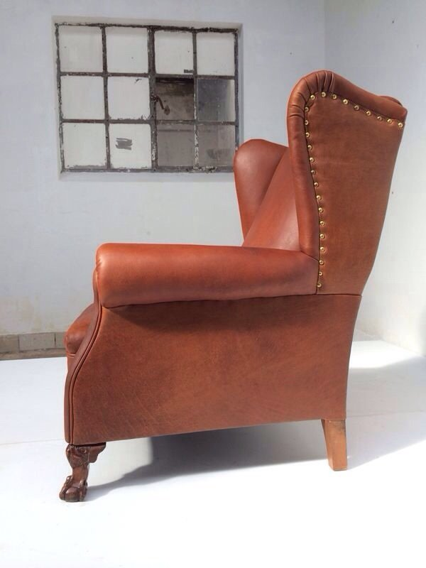 NeoGothic Leather Wingback Chair 1930s for sale at Pamono