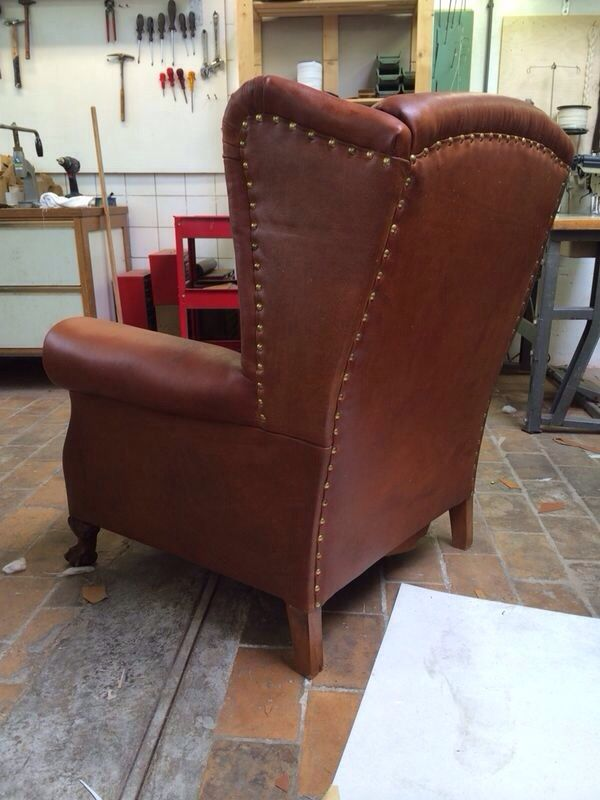 Perfect Neo Gothic Leather Wingback Chair, 1930s