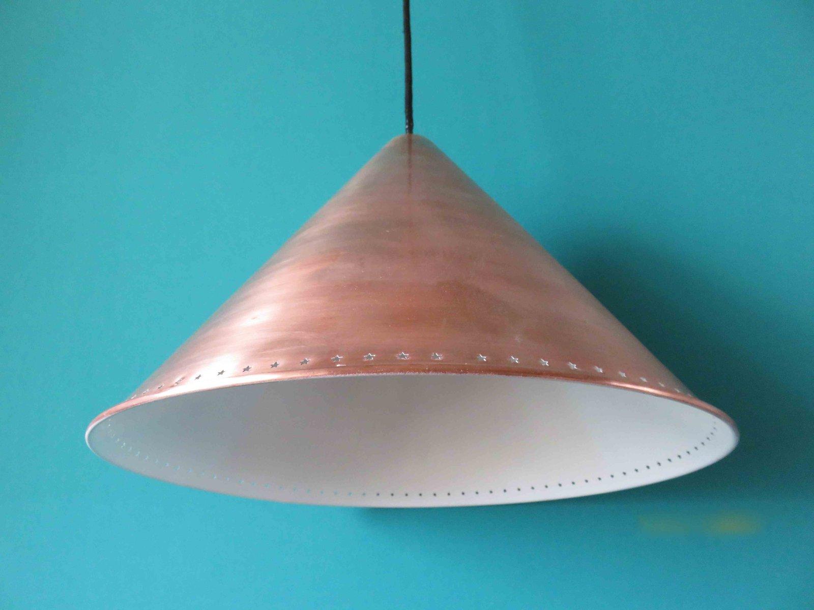 vintage danish copper pendant light 1950s