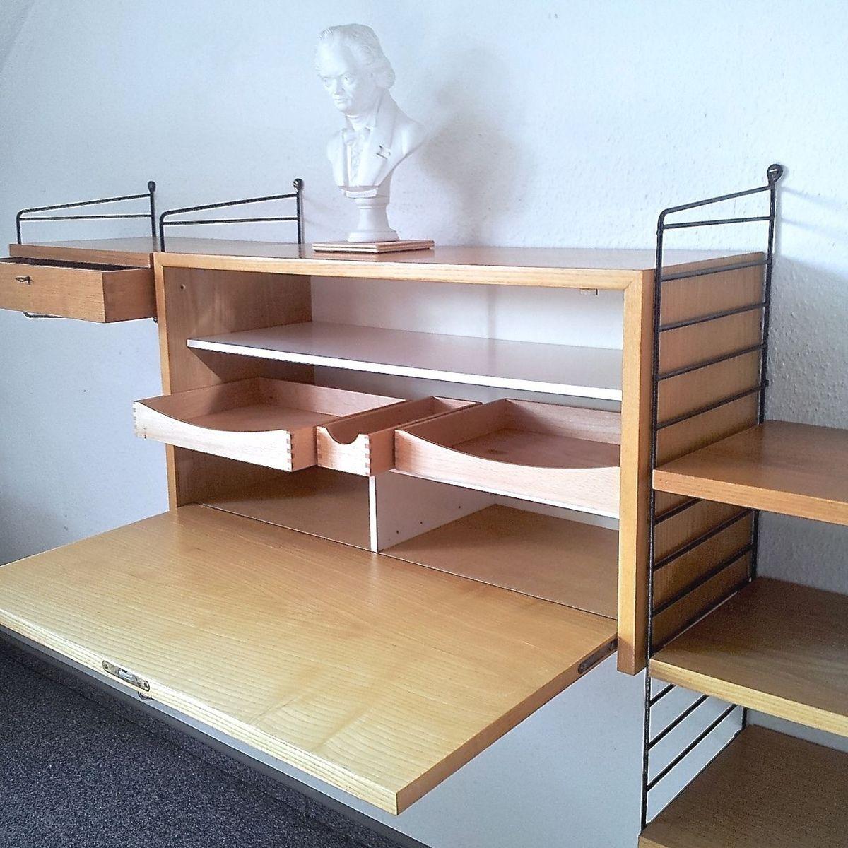 string regal mit sekret r von hubert sandmann f r nisse strinning 1950er bei pamono kaufen. Black Bedroom Furniture Sets. Home Design Ideas