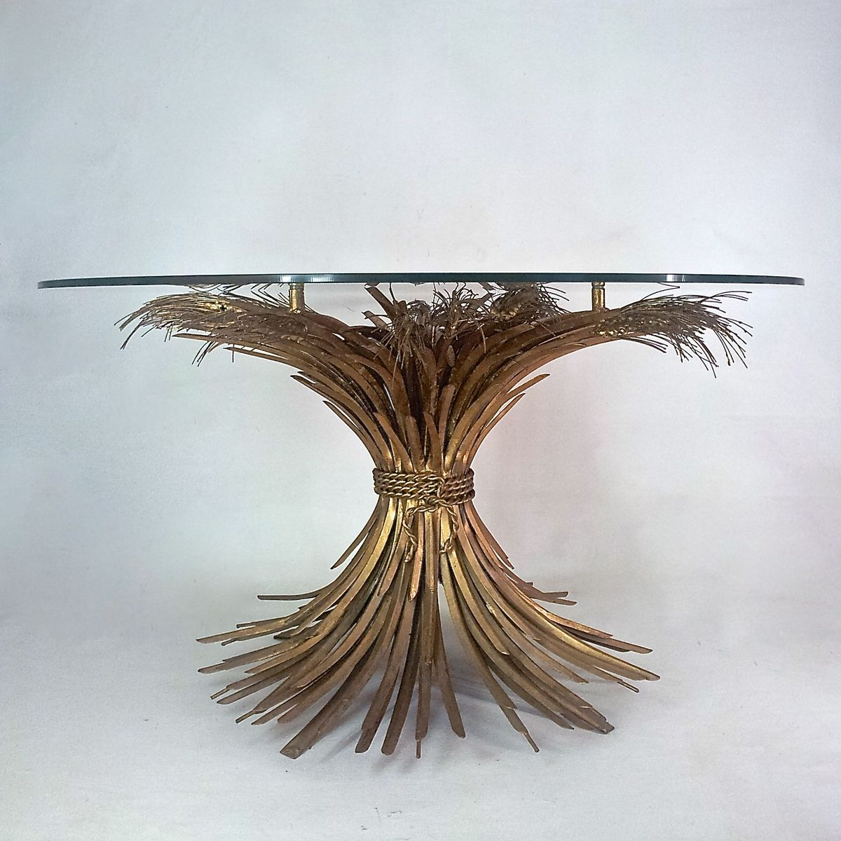 Gold Lacquered Metal And Glass Coffee Table 1970s For Sale At Pamono