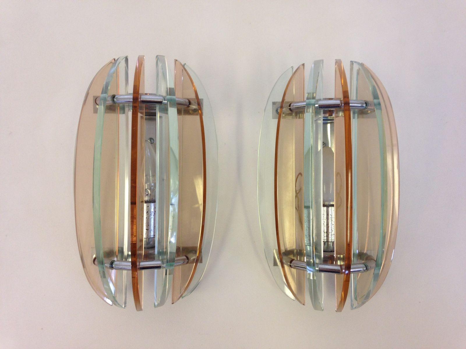 Retro Glass Wall Lights : Vintage Glass Wall Lights, Set of 2 for sale at Pamono