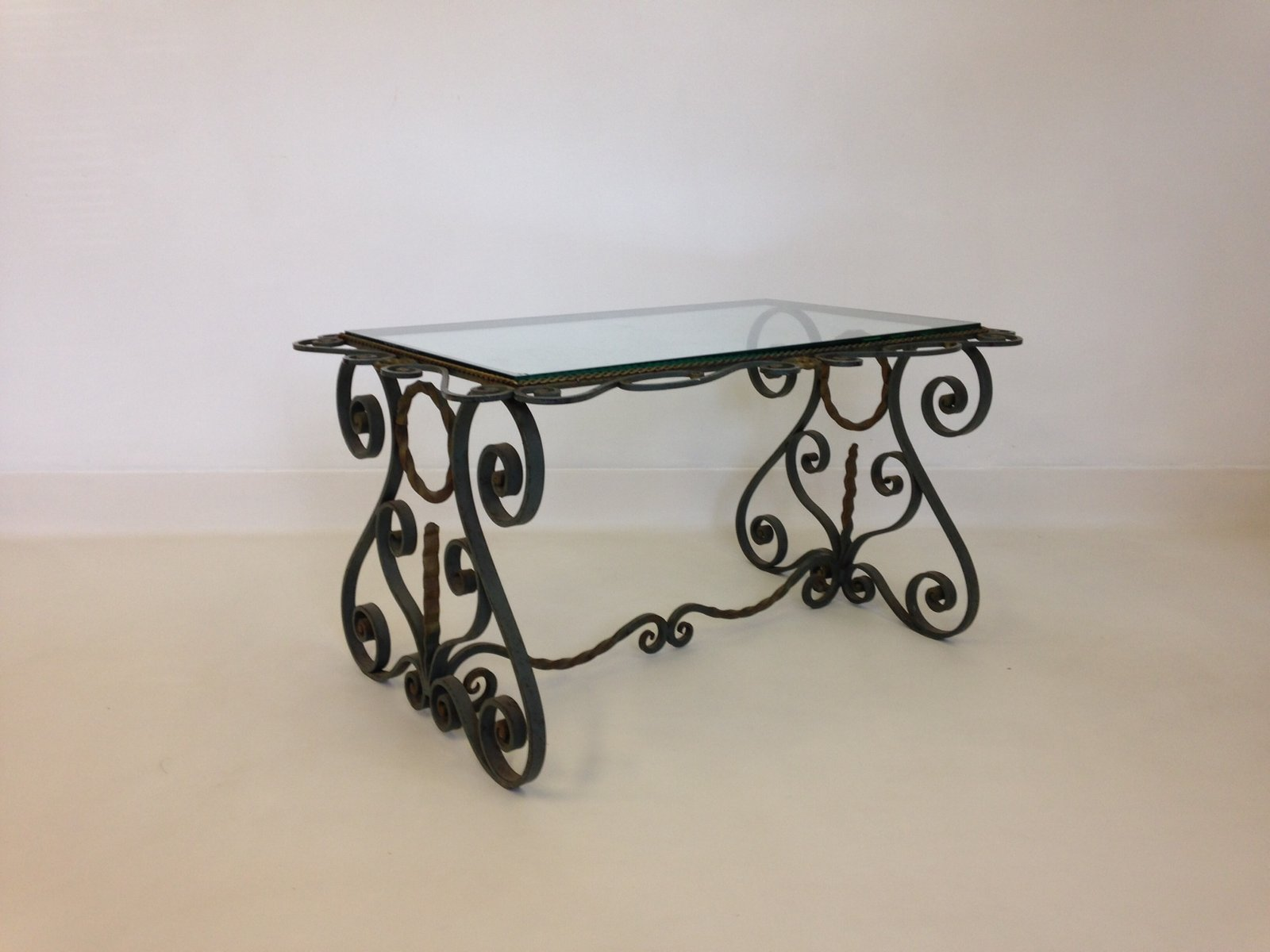 vintage french wrought iron coffee table for sale at pamono